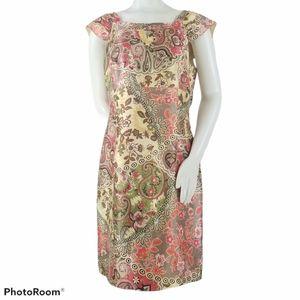Liz Claiborne Sheath Dress 14 Cap Sleeve Floral